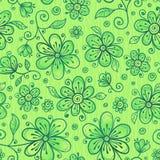 El doodle verde florece el modelo inconsútil del vector Foto de archivo