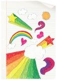 El Doodling en la escuela. ilustración del vector