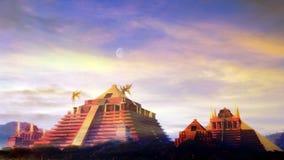 El Dorado. Mythical city of El Dorado made of gold. Hyper detailed landscape and architectural illustration of El Dorado Stock Photo