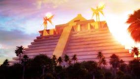 El Dorado. Mythical city of El Dorado made of gold. Hyper detailed landscape and architectural illustration of El Dorado Royalty Free Stock Photo