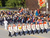 El Dorado Golden Hawks Marching Band. PASADENA, CA - JANUARY 1: El Dorado Golden Hawks Marching Band proudly preforming in the 121st Tournament of Roses Parade Stock Photography