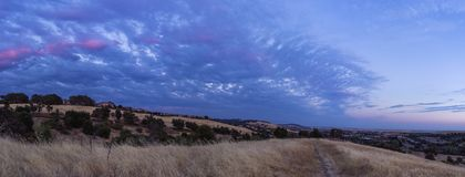 El Dorado Hills Blue Sunset Panorama. Panorama of 6 vertical shots taken on one of the hills that make the Serrano section of El Dorado Hills, California Stock Images
