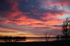 El Dorado Lake at sunset. We live close to El Dorado Lake and are able to take these beautiful sunset photos Stock Image