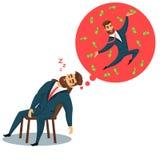 El dormir barbudo del hombre de negocios de la diversión libre illustration