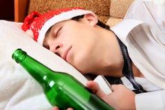 El dormir borracho del adolescente Fotografía de archivo libre de regalías
