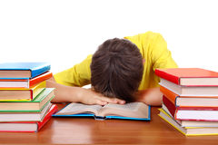 El dormir cansado del colegial Fotos de archivo