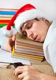 El dormir cansado del estudiante Imagen de archivo libre de regalías