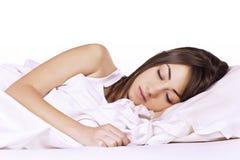 El dormir de la mujer de la belleza Imagenes de archivo