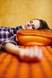 El dormir de la señora joven Imagen de archivo libre de regalías