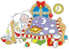 El dormir de Santa Claus ilustración del vector