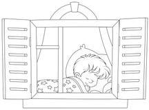 El dormir del niño pequeño stock de ilustración