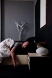 El dormir envejecido medio calvo del hombre Foto de archivo libre de regalías