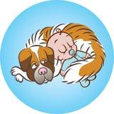 El dormir a fondo con el perro Imagenes de archivo