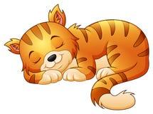 El dormir lindo del gato ilustración del vector