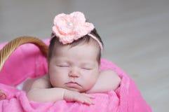 El dormir recién nacido Primer infantil del bebé que miente en la manta rosada en cesta Retrato lindo del nuevo niño Imagen de archivo