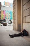El dormir sin hogar Imágenes de archivo libres de regalías
