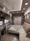 El dormitorio del hombre joven, diseño interior, rinde 3D Imagen de archivo