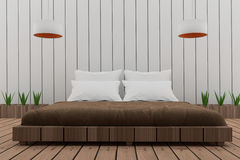 El dormitorio en diseño del desván en 3D rinde imagen stock de ilustración