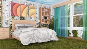El dormitorio interior mezcla adentro con diseño de la naturaleza 3D libre illustration
