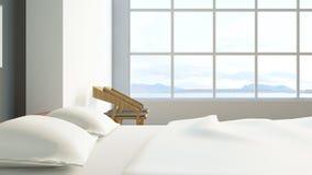 El dormitorio moderno/3d del desván rinde imagen Foto de archivo