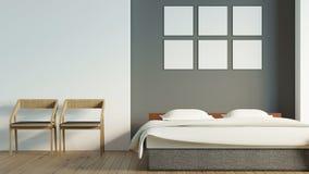 El dormitorio moderno del desván con el cartel en blanco/3d rinde imagen Imagen de archivo