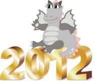 El dragón de la historieta que se sienta en el oro pone letras a 2012 ilustración del vector