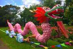 El dragón de los lomos se preparó para la celebración del nuevo sí de los lomos Foto de archivo