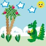 El dragón resuelve la Navidad en el mar Ilustración del Vector