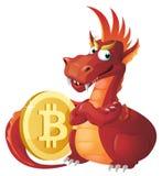 El dragón rojo guarda símbolo del bitcoin ilustración del vector