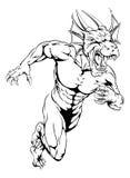 El dragón se divierte esprintar de la mascota Imagen de archivo libre de regalías