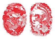 El dragón y Phoenix Papel-cortaron