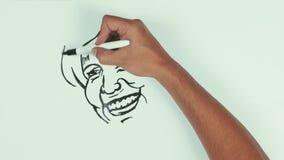 El drenaje hillary Clinton de la velocidad del hombre hace frente a caricatura con el marcador negro en whiteboard almacen de video