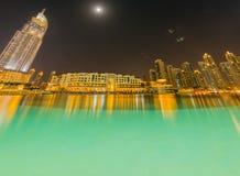 El Dubai - 10 de enero de 2015: el hotel de la dirección encendido Imagen de archivo