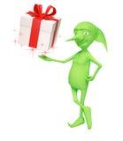 El duende mágico con un regalo Imagen de archivo libre de regalías