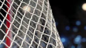 El duende malicioso de hockey vuela en la red en un estadio con las luces amarillas y azules en la cámara lenta