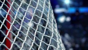 El duende malicioso de hockey vuela en la red en un estadio de las luces del azul en la cámara lenta
