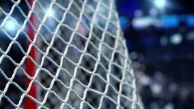 El duende malicioso de hockey vuela en la red en un estadio de las luces del azul El movimiento entonces se acelera al principio