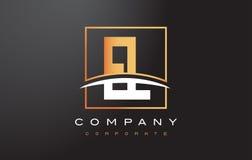 EL E L letra de oro Logo Design con el cuadrado y Swoosh del oro Fotos de archivo