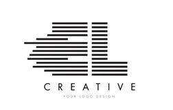 EL E L letra Logo Design de la cebra con las rayas blancos y negros Imagen de archivo
