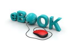 El eBook de la palabra conectó con un ratón del ordenador ilustración del vector