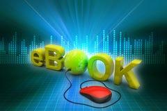 El eBook de la palabra conectó con un ratón del ordenador stock de ilustración