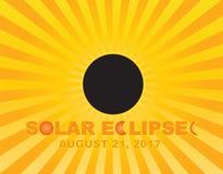 2017 el eclipse solar total Sun irradia el ejemplo del vector del fondo Imagen de archivo libre de regalías
