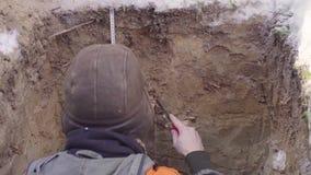 El ecologista sonda capas de suelo metrajes