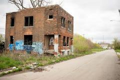 El edificio abandonado dilapidó Real Estate Detroit Michigan fotografía de archivo libre de regalías