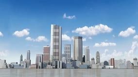 El edificio de la construcción y hace la ciudad en la animación stock de ilustración