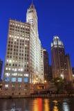 El edificio de Wrigley en la avenida de Michigan en Chicago en los E.E.U.U. Imagen de archivo