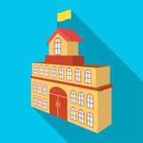 El edificio del ayuntamiento Icono de Hall Building de la ciudad solo en web plano del ejemplo de la acción del símbolo del vecto Foto de archivo