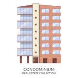 El edificio del condominio, las propiedades inmobiliarias firma adentro estilo plano Ilustración del vector ilustración del vector