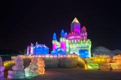 El edificio del grabado del hielo en Harbin Fotos de archivo libres de regalías