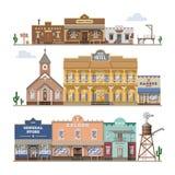 El edificio del oeste salvaje del vector del salón y los vaqueros occidentales contienen o barra en el ejemplo de la calle fijado ilustración del vector